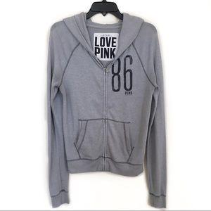 ✨ VS Pink Gray 86 Zip Up Hoodie Women's XS